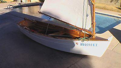 SAILING ROWING DINGHY 11' Classic Wood Beauty Nice sail Sailboat Rowboat