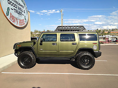 Hummer : H2 Base Sport Utility 4-Door 2004 hummer h 2 army green with lift 37 x 12 kevlar tires hummer roof rack