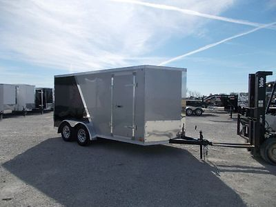7X14 Enclosed cargo box trailer, 2 tone,D Rings , radial tires, LED Lights.