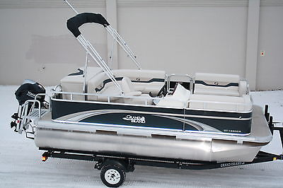 16 ft by 8 pontoon boat with 50 hp four stroke with trailer