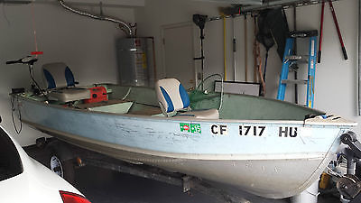 14' Aluminum Fishing Boat Honda Motor Electric Trolling Trailer New Tires