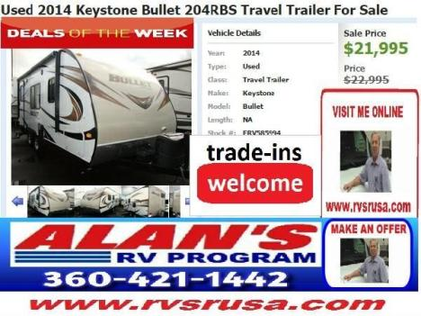 Used 2014 Keystone Bullet 204RBS Travel Trailer For Sale