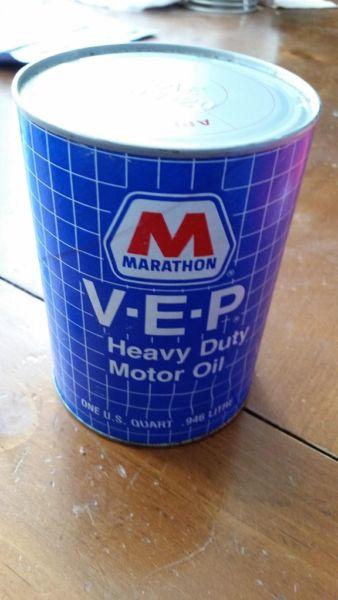 vintage can of marathon oil