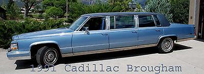 Cadillac : Brougham 6 Door 1991 cadillac brougham 6 door limousine limo blue funeral family car v 8 5.7 ltr