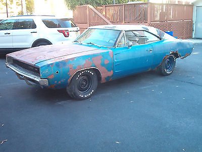 Dodge : Charger Vinyl top 1968 dodge charger 383 g code qq 1 blue with white top and white blue interior