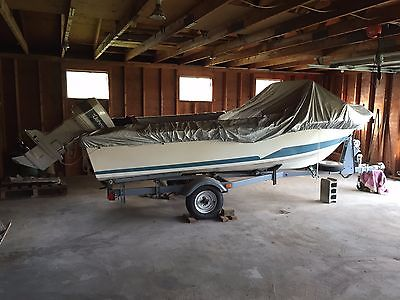 16 Ft Larson Boat with 88 HP Johnson motor and trailer