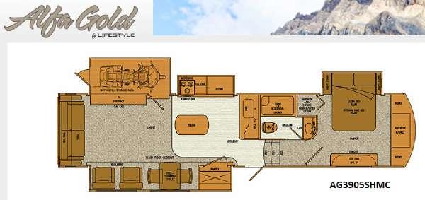 Lifestyle Luxury Rv Alfa Gold 3905sh Motorcycle Garage Rvs For Sale