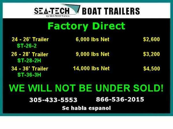 2016 SEA-TECH FACTORY DIRECT Aluminum Triple and Tandem Axles Trailers Trailers