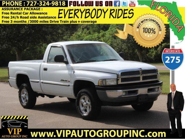 Dodge : Ram 1500 2D Reg Cab 4X4 1999 dodge ram slt pickup 4 x 4 one florida owner great condition warranty