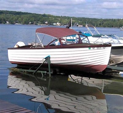 Classic, rare, vintage, 1956 E.M. White Co. Maine 19 ft. wooden lapstrake boat