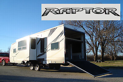 2013 KEYSTONE RAPTOR 35' TOY HAULER TRAVEL TRAILER RV FUZION 10' GARAGE 2 SLIDES