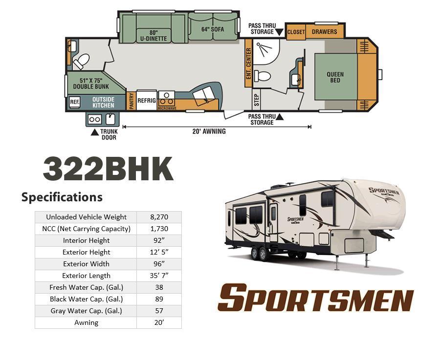 2017 K-Z Sportsmen 322BHK