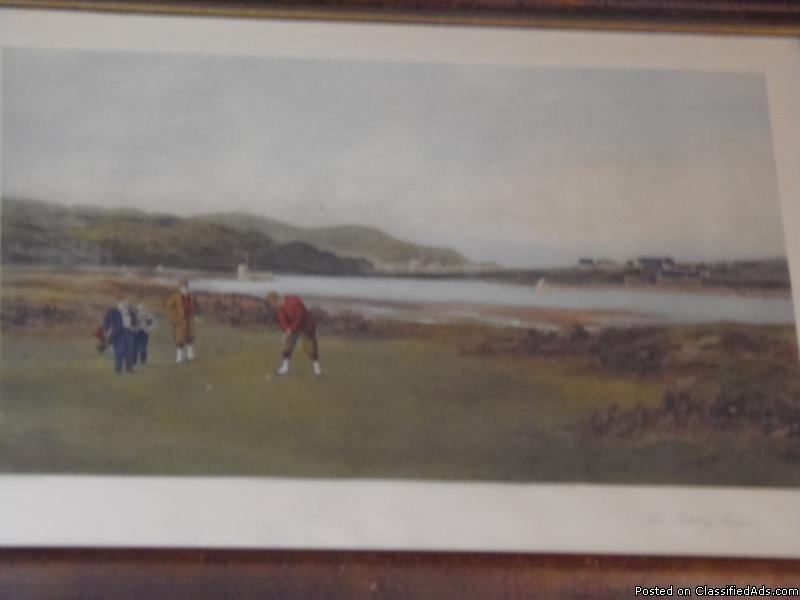 Original Oldest Golf Lithograph 1894  The Pulling Green  ( ST. Andrews...