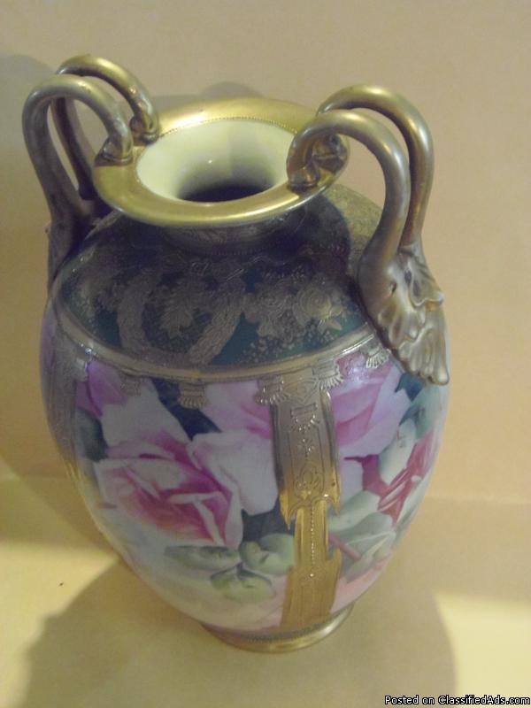 Pre 1890 M in Wreath Japanese Hand Painted Vase