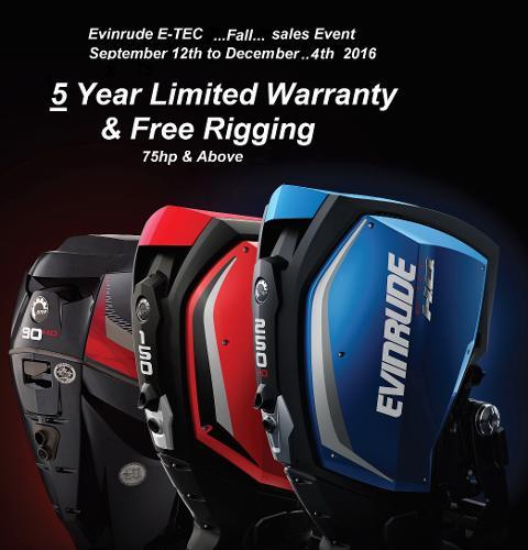 Evinrude E Tec 5 Year Warranty On All New E Tec Motors W