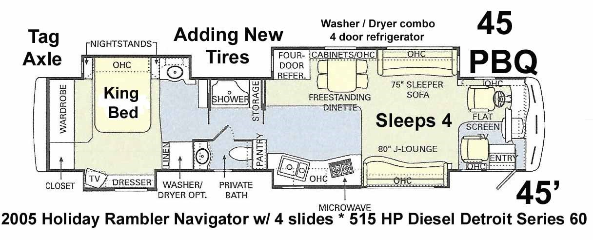 2005 Holiday Rambler Navigator 45 PBQ 4 slides king bed