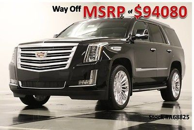 2016 Cadillac Escalade MSRP$94080 4X4 Platinum DVD 6.2 Sunroof GPS Black New Navigation Heated Cooled Leather CUE Captains 17 15 2017 16 AWD Bose Camera