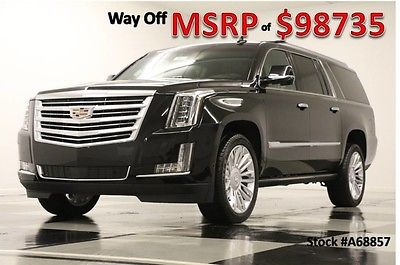 2016 Cadillac Escalade MSRP$98735 4X4 ESV Platinum DVD Sunroof GPS Black New Navigation Heated Cooled Leather Black 6.2L 17 2017 16 AWD Captains Head Up