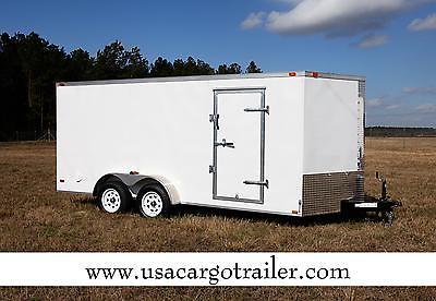 7x16 Enclosed Trailer Cargo V Nose Motorcycle 8 Hauler Box Landscape Tandem CALL