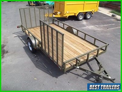 2016 82 x 14 side gate od military green New utility double atv HD 5k axle