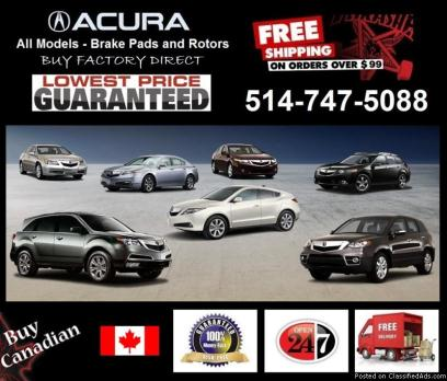 Acura - All Models, Brake pads and rotors (OEM Specifications)