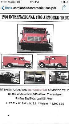 International Harvester : Other ARMORED LEVEL II/III Armored Truck 1996 International 4700