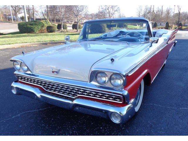 Ford : Galaxie SUNLINER 1959 galaxie 500 fairlane sunliner convertible red white power top steering