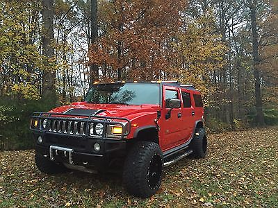 Hummer : H2 4WD 2004 hummer h 2 suv victory red low miles clean carfax fuel mavericks 20 x 14