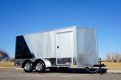 IN STOCK 7 X 14 V-Nose Enclosed Motorcycle Cargo Trailer: Wheels, LED, Screwless