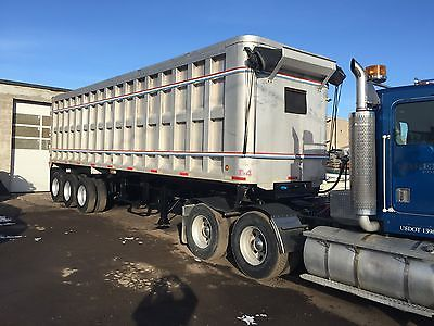 1999 semi END DUMP TRAILER, TRI AXLE 38' aluminum