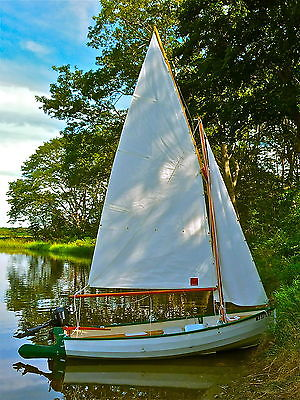Stornoway 12 Gaff Rigged Sailboat, Engine, Oars, and Trailer