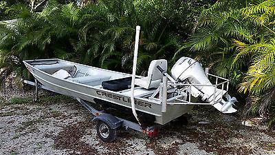 14' Aluminum Jon Boat, 4 Stroke Honda 9.9, Trailer