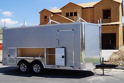 IN STOCK TOOL ACCESS 8.5 X 19 Enclosed V-Nose Enclosed Cargo Contractor Trailer