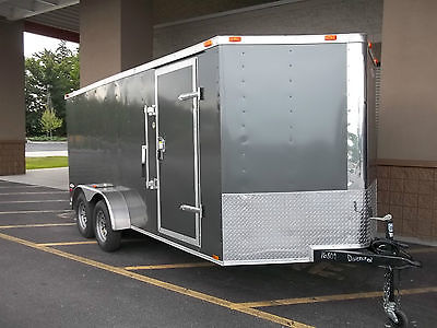2016 Five Star Cargo Enclosed Trailer 7 x 16 Plus V-Nose, Rear Ramp,Side Doors