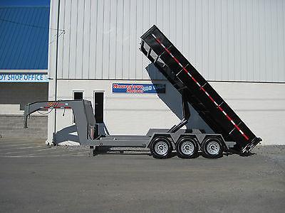 '16 BWise 82x18 Gooseneck Dump Trailer 21k GVW Hydraulick Jacks, 47 Degree Dump