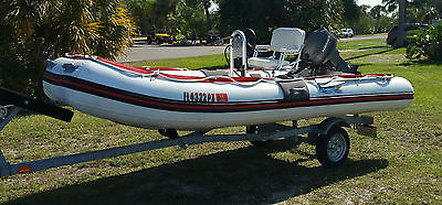 **NO RESERVE**2008 SEABRIGHT 15' RIGID BOTTOM INFLATABLE W/25HP MOTOR & TRAILER