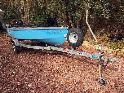 10' Wood/Fiberglass Boat, Blue & Gray