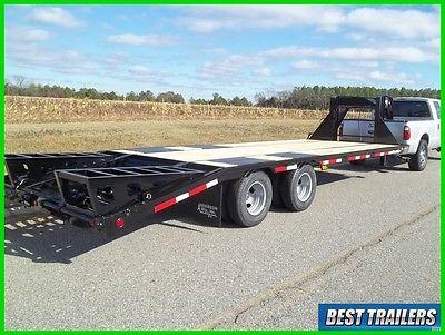 flatbed gooseneck 10 ton deckover HD equipment trailer 25ft flat bed 20K GVWR
