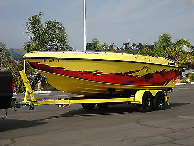 1990 BAJA MARINE 22' FOOT POWER SPEED BOAT 5.7L MERCRUISER 350 YELLOW MIAMI VICE