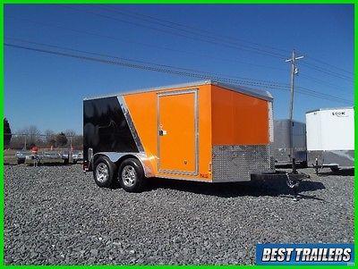 2017 7 x 12 low profile enclosed double motorcycle trailer orange black v nose