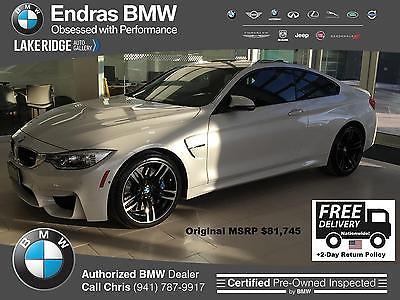2016 BMW M4 -- 2016 BMW M4 9,047 Miles Mineral White Metallic 2dr Car Straight 6 Cylinder Engi