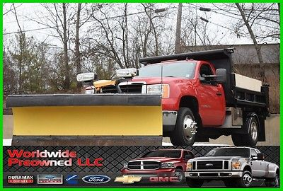 2008 GMC Sierra 3500 Dump Truck 08 GMC Sierra 3500HD 4x4 Dump Truck 6.0L Vortec Gas Chevy Chevrolet Used Plow