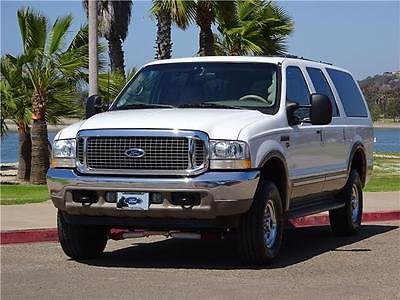 2002 Ford Excursion LIMITED * SUPER BOWL / TAX SEASON / FREE SHIPPING! 2002 FORD EXCURSION LIMITED 7.3L DIESEL 4X4 4WD 7.3 WHITE 1 OWNER BANKS LEATHER