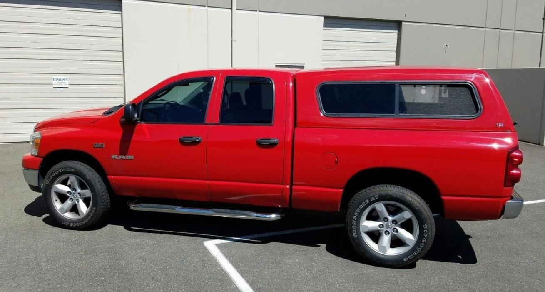 2008 Dodge Ram 1500 Big Horn 2008 Red Dodge Ram 1500 Hemi 4x4 Quad Cab Pickup Truck 5.7L V8 3/4 Line-X Canopy
