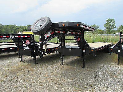 New 2017 PJ 32' Gooseneck Equipment Flat Bed Trailer Deck On Neck Monster Ramps