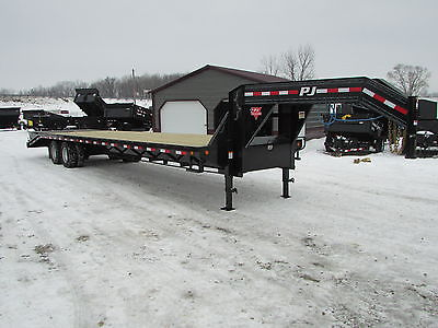 New PJ 32' Gooseneck Flatbed Equipment Trailer Monster Ramps 12k Axles 25.9 gvwr
