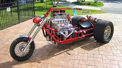 Custom Built Motorcycles 3 Wheel Chopper  Pro Street Supercharged V8 Chevy Trike Blown 350 9 inch Ford Turbo 350 NOS