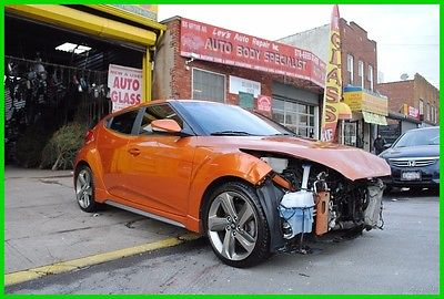 2013 Hyundai Veloster Turbo Leather AT Auto 1.6L Repairable Rebuildable Salvage Wrecked Runs Drives EZ Project Needs Fix Save Big