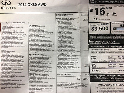 2014 Infiniti QX56  2014 INFINITI QX80 4X4 * $80K MSRP * THEATER PKG * TOUR PKG * 22 WHEEL PKG!