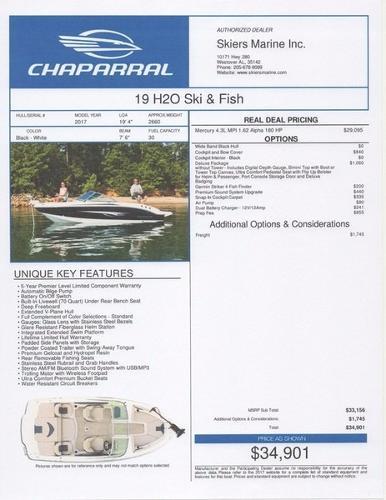 2017 Chaparral 19 H2O Ski & Fish